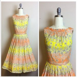 Vintage 1950s Silk Floral Fit and Flare Dress
